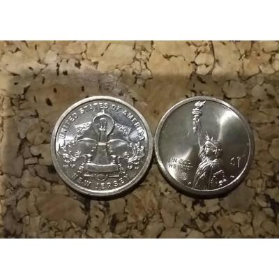 Монета 1 доллар 2019 год. США.  Лампочка накаливания.