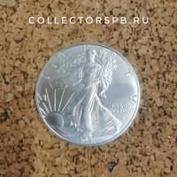 Монета 1 доллар 2021 год. США. Шагающая Свобода. Серебро. Унция.