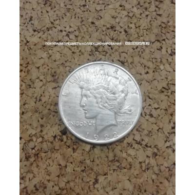 Монета 1 доллар 1922 год. США. Серебро. Peace.
