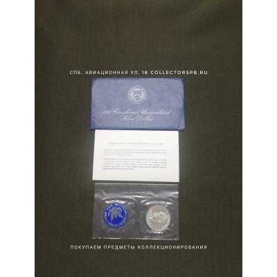 Монета 1 доллар 1972 год и жетон. США. Серебро. В родной упаковке.