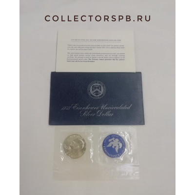 Монета 1 доллар 1973 год. США. Серебро. Орел. Пруф. С жетоном.
