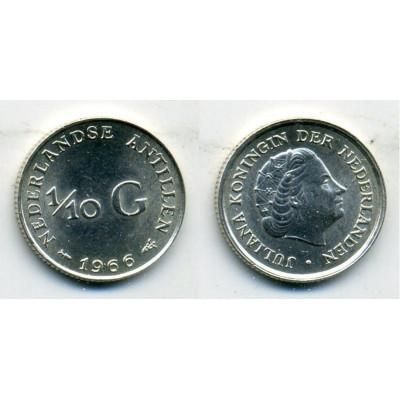 Монета Нидерландские Антильские острова 1/10 гульдена 1966 год. Серебро.