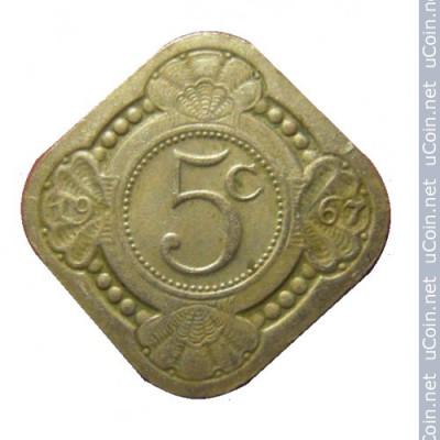 Монета Нидерландские Антильские острова 5 центов 1963 год.