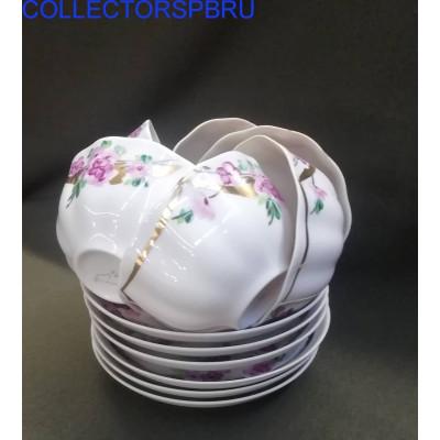 """6 чайных пар и заварочный чайник """"Цветы"""". Роспись, позолота. Дулево."""
