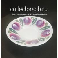 Большое, яркое, круглое блюдо (тарелка). Фаянс Конаково СССР.