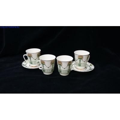 2 Кофейные пары. 2 чашечки. Костяной фарфор. ЛФЗ.