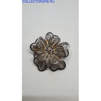 """Брошь """"Цветок"""". Скань, филигрань. (925)."""