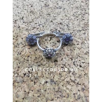 Комплект серьги и кольцо. Фианиты, аметисты. (925)