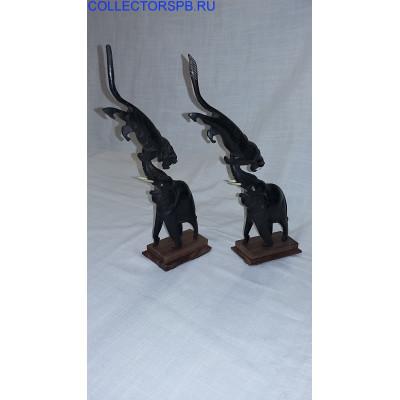 """Парные Скульптуры """"Слоны и львы"""". Дерево. Резьба."""