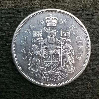 Монета 25 центов 1964 год. Канада. Серебро.
