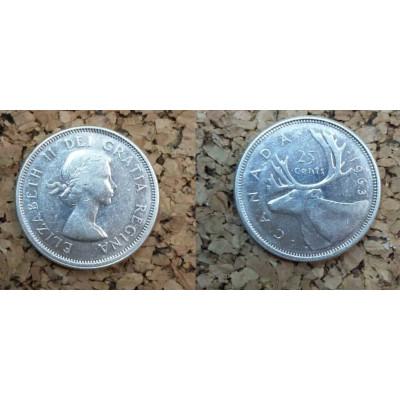 Монета Канада 25 центов 1963 год. Серебро.