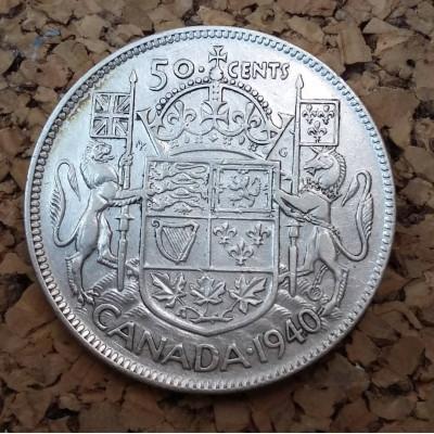 Монета Канада 50 центов 1940. Серебро.