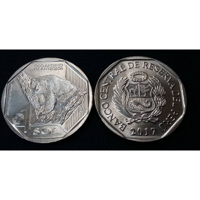 Монета 1 соль 2017 год. Перу. Андский медведь . Серия фауна Перу .