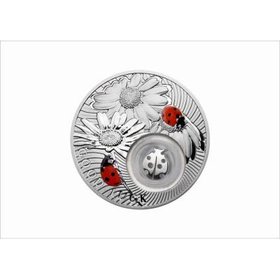 "Монета на удачу. 2 доллара 2012. Осторов Ниуэ. Серебро. ""Божья коровка""."