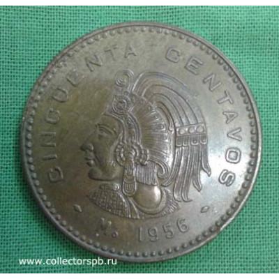 Монета Мексика 50 сентаво 1956 год