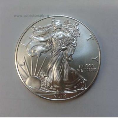"Монета 1 доллар 2014 г. США. ""Шагающая свобода"""