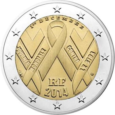 "Монета 2 евро 2014 Франция ""День борьбы со СПИДом"""