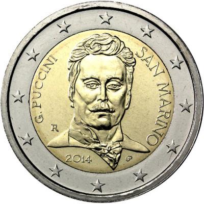 "Монета 2 евро 2014 г.  Сан-Марино. ""90-летие со смерти Пуччини""."