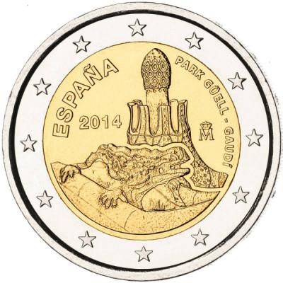 """Монета 2 евро 2014 Испания """"Парк Гуэль"""""""