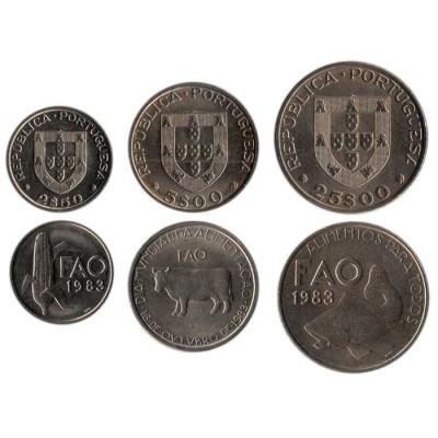 Монеты Португалии (ФАО), набор из 3-х монет, 1983 год.